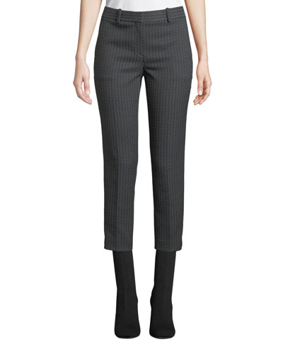 Treeca Jacquard Slim-Fit Cropped Pants