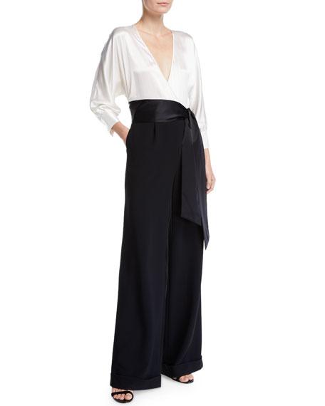 aed21c13cfd Diane von Furstenberg Marle Tie-Front Wide-Leg Jumpsuit