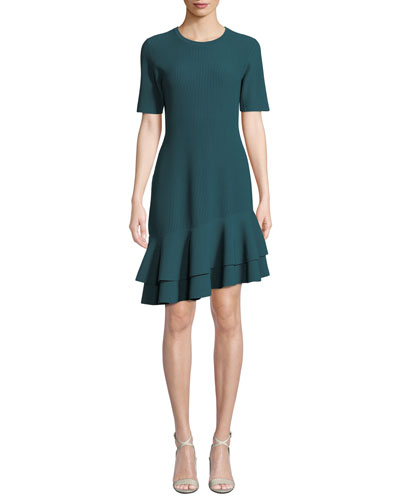 Adeline Ribbed Asymmetrical Flounce Tee Dress