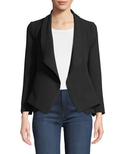 Tori Crepe Open-Front Waterfall Jacket