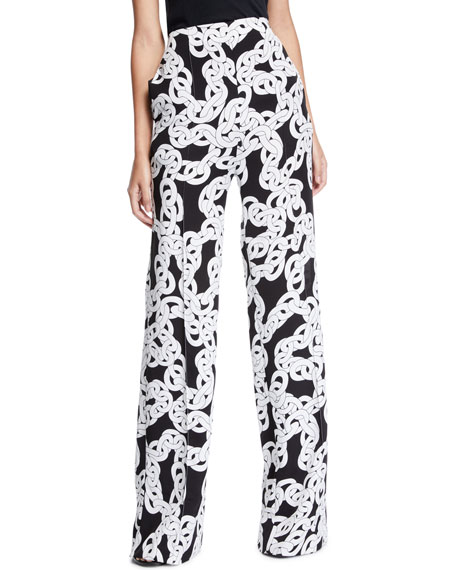 Diane von Furstenberg Erica Printed Stretch Wide-Leg Pants