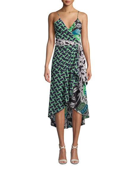 DIANE VON FURSTENBERG KATSIA PRINTED SLEEVELESS WRAP DRESS