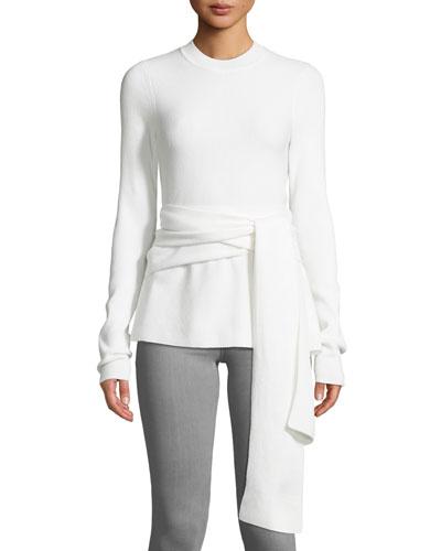 Devin Wrap-Front Merino Wool Sweater