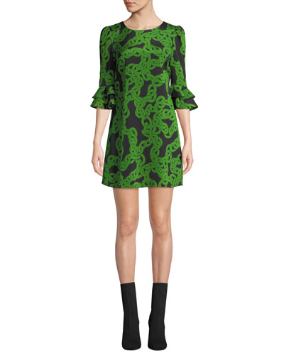 Lousie Stretch-Viscose Printed Bell-Sleeve Dress