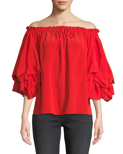 Georganne Off-Shoulder Tucked-Sleeve Top