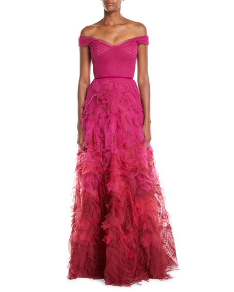 2ab5f57d663 Marchesa Notte Off-the-Shoulder Ombre Textured Gown