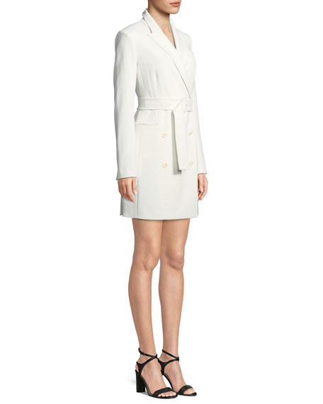 24d49f7dd05 Theory Double-Breasted Belted Admiral Crepe Blazer Dress