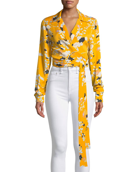 Long-Sleeve Floral Wrap Blouse