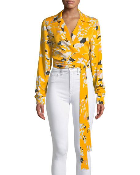 Diane von Furstenberg Long-Sleeve Floral Wrap Blouse