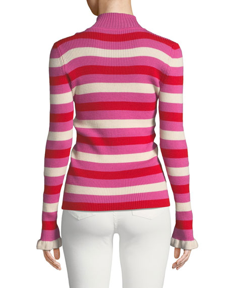 You Make Me Happy Striped Mock-Neck Sweater