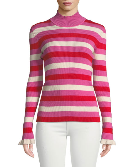 Maggie Marilyn You Make Me Happy Striped Mock-Neck