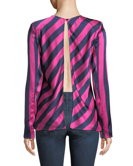 I Wish You Well Open-Back Stripe Silk Top