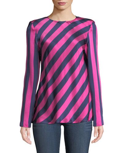 I Wish You Well Open-Back Stripe Silk Top