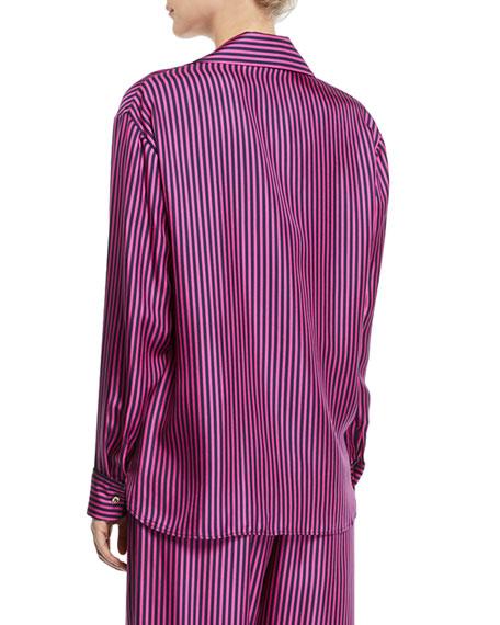Hand In My Hand Striped Silk Button-Down Shirt