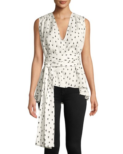 I Can Count On You Printed Wrap Top
