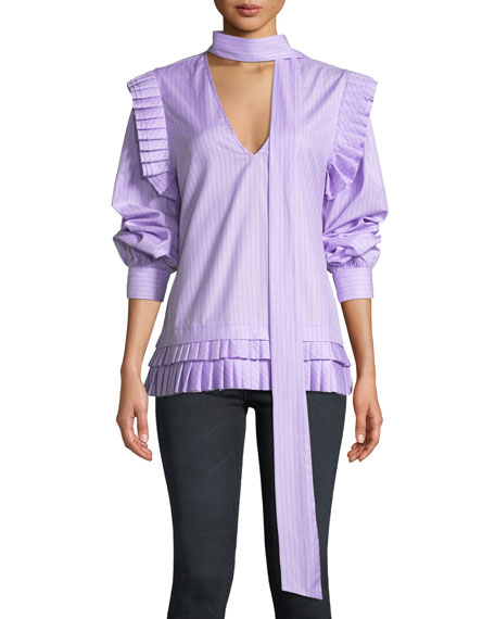 Maggie Marilyn I'LL CATCH YOU IF YOU FALL PINSTRIPE PLEATED TOP