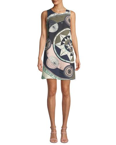 Constellation Sleeveless Linen-Blend Short Dress