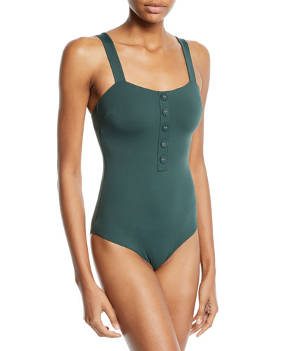 Archie One-Piece Swimsuit with Button Details