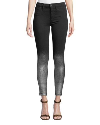 Barbara High-Rise Super Skinny Ankle Jeans w/ Metallic Spray