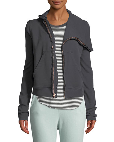 Side-Zip Cotton Fleece Jacket