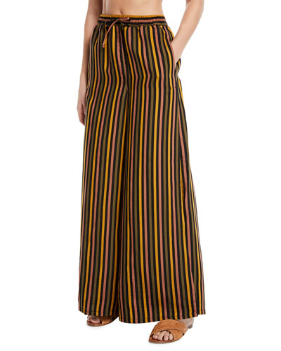 Chloe Striped Wide-Leg Coverup Beach Pants with Pockets