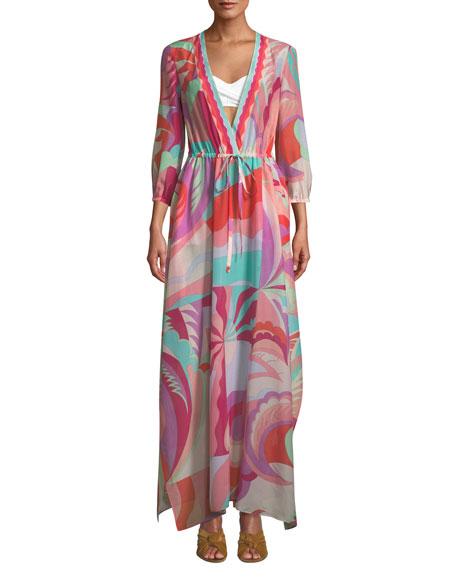 Emilio Pucci V-Neck 3/4-Sleeve Long Multicolor Caftan
