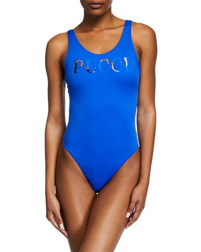 High-Cut Scoop-Back Logo One-Piece Swimsuit