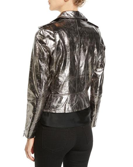 Metallic Zip-Front Leather Moto Jacket