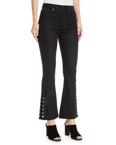 Holly High-Rise Cropped Flare-Leg Jeans with Grommets