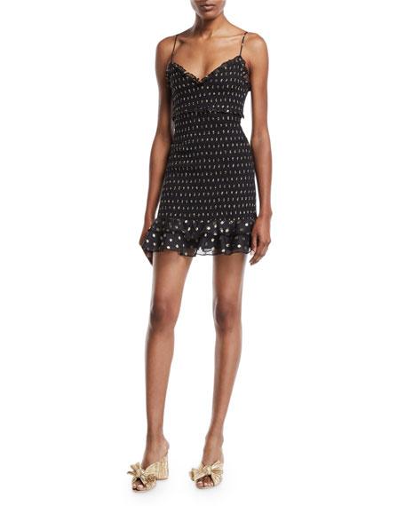Zephra Metallic Dot-Print Ruffle Mini Dress