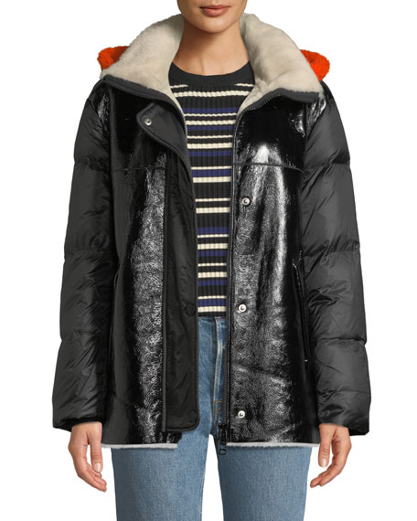Lamb Shearling & Leather Down Jacket