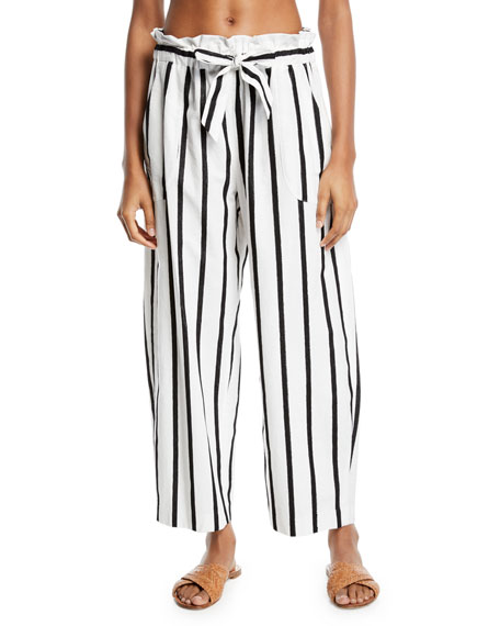 Kori Striped Embroidered Coverup Pants, Black