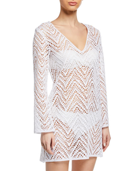 Mykonos Crochet Long-Sleeve Coverup Tunic