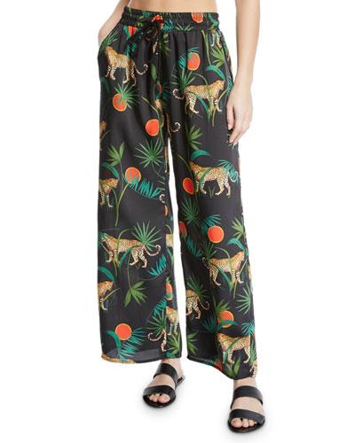 Jungle Print Twill Coverup Pants