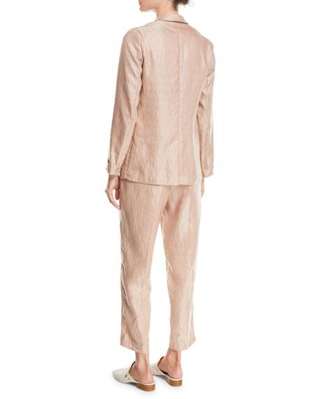 Iridescent Linen Satin Single-Button Jacket