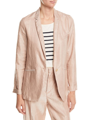 Iridescent Linen Satin Single-Button Jacket