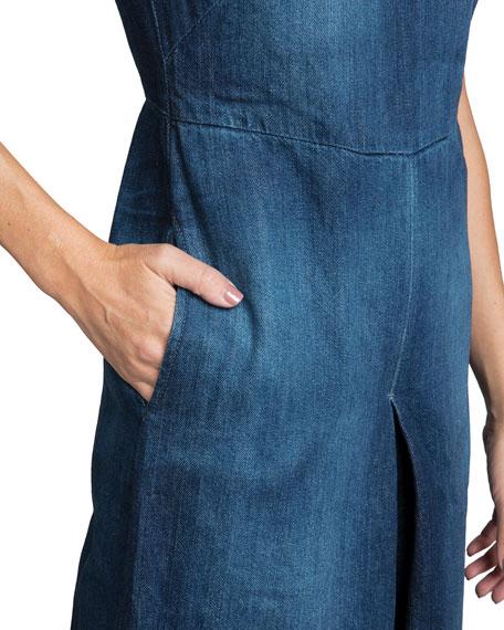 Leaf High-Neck Wide-Leg Denim Jumpsuit