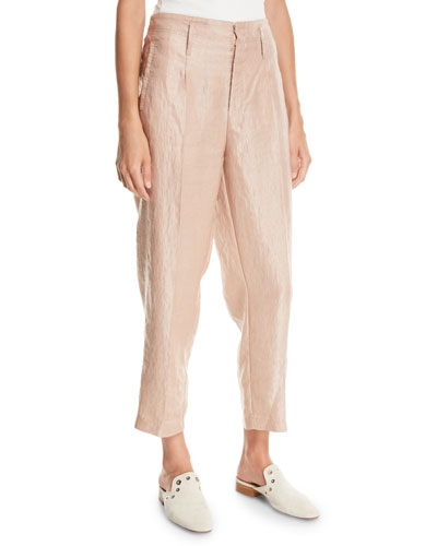 Iridescent Linen Satin Straight-Leg Pants