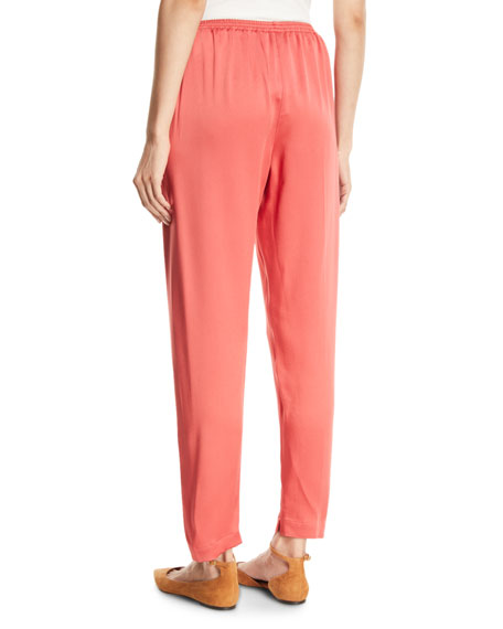 Crepe Pull-On Straight-Leg Pants