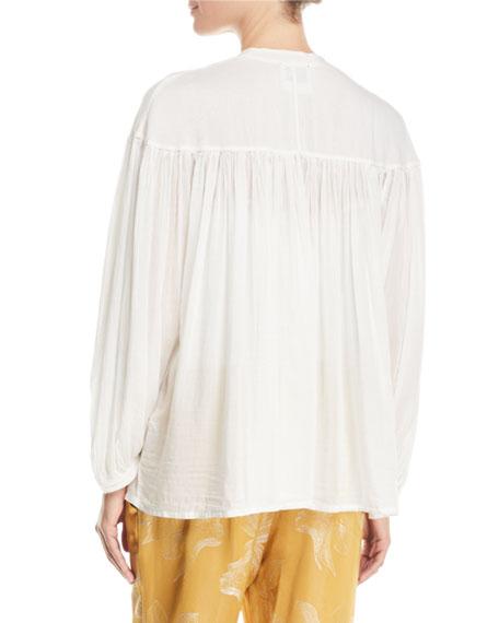 Bohemian Cotton-Silk Voile Button-Front Shirt