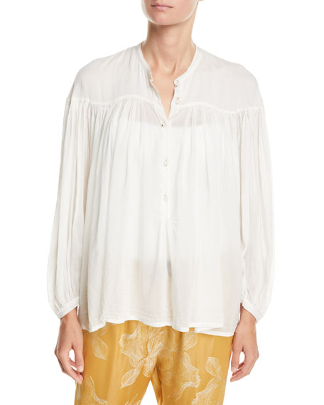 Forte Forte Bohemian Cotton-Silk Voile Button-Front Shirt