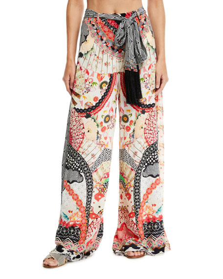 Camilla Belted Silk High-Rise Godet Pants