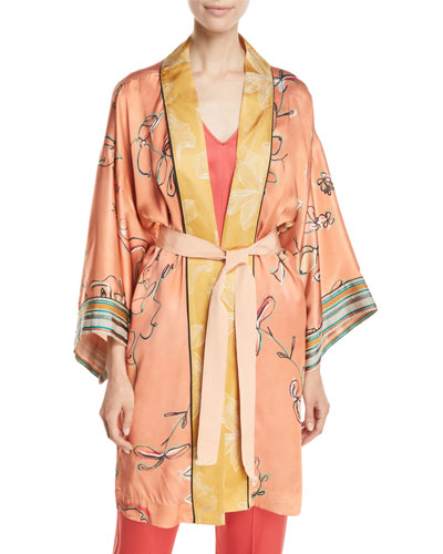 Italian Riviera Printed Silk Satin Kimono
