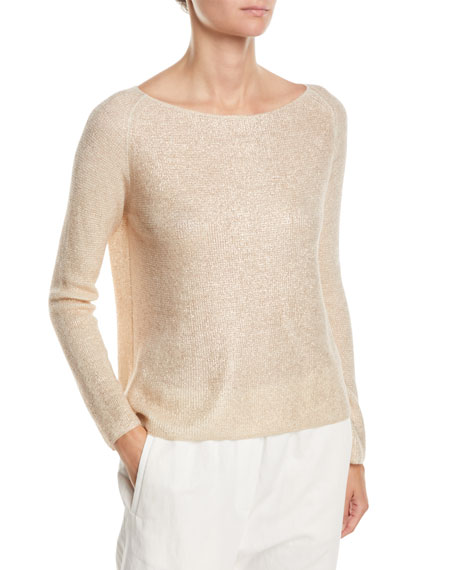 Forte Forte Boat-Neck Long-Sleeve Cashmere-Silk Top