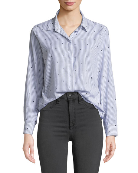 Rails TAYLOR STRIPED STAR-PRINT BUTTON-DOWN TOP