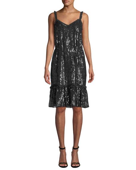 NEEDLE & THREAD Gloss Sequin Cami Dress in Black