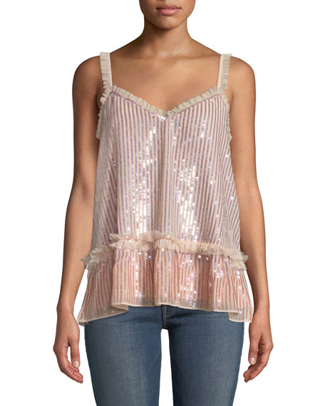 Needle & Thread GLOSS SEQUIN CAMI TOP WITH RUFFLE TRIM