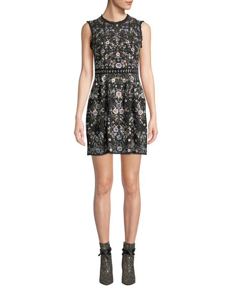 NEEDLE & THREAD Ella Sleeveless Embroidered Floral Cocktail Dress in Black