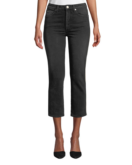 Amo Denim CHLOE CROPPED STRAIGHT-LEG JEANS WITH PIPING
