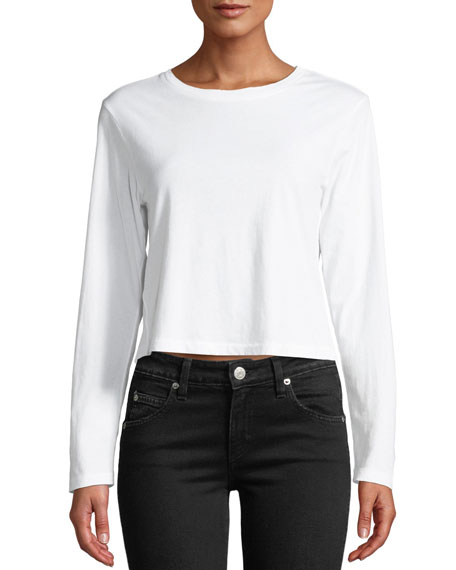 Amo Denim BABE CROPPED LONG-SLEEVE COTTON TEE